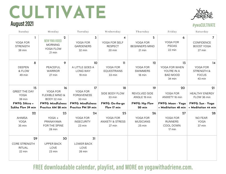 Yoga With Adriene - August 2021 Calendar